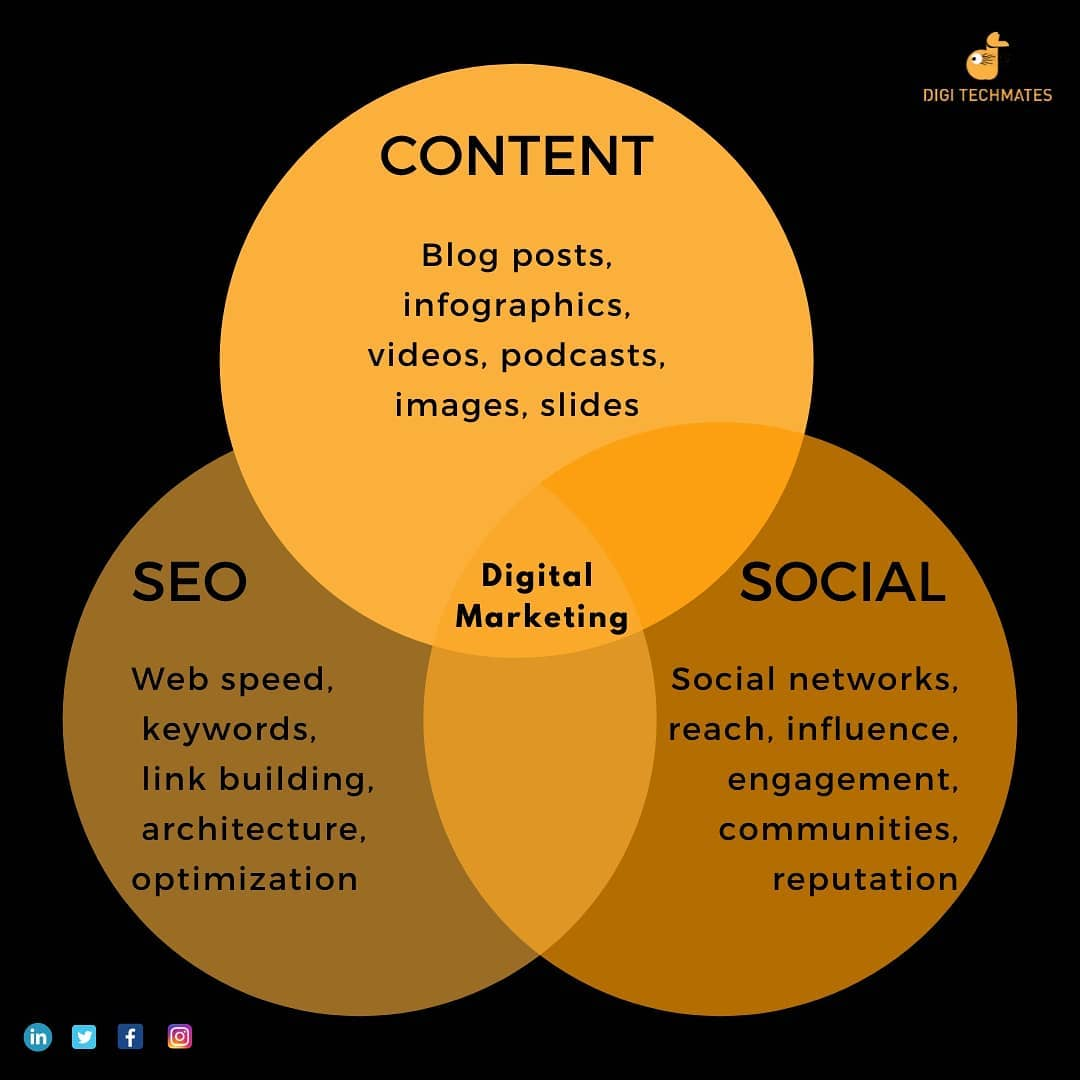 """Digi Techmates's Instagram profile post: """"The entire world of Digital Marketing revolves around 3 things and they are:  1) Content 2) SEO 3) Social Networking . .…"""""""