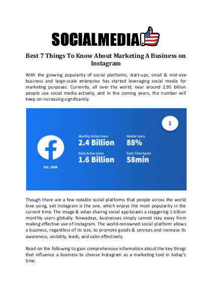 Best 7 Things To Know About Marketing A Business on Instagram